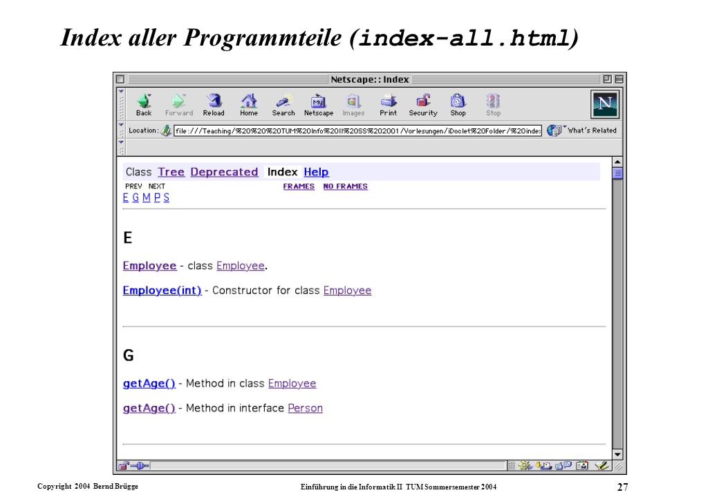 Index aller Programmteile (index-all.html)