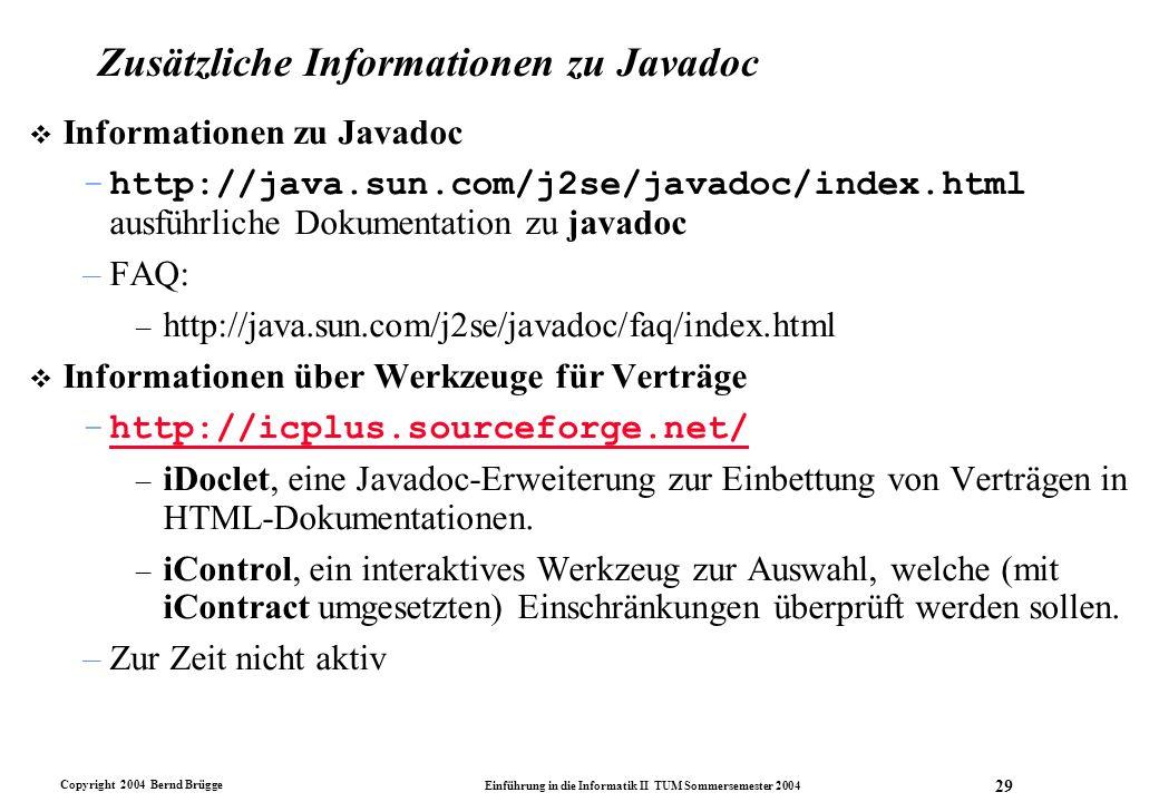 Zusätzliche Informationen zu Javadoc