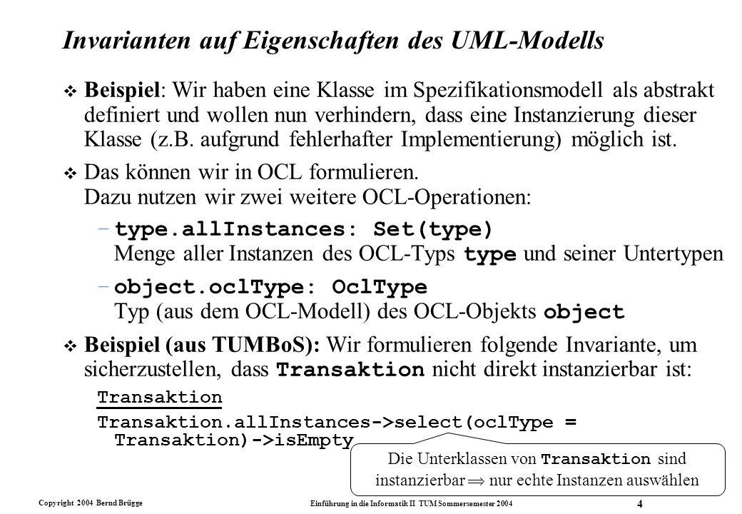 Invarianten auf Eigenschaften des UML-Modells