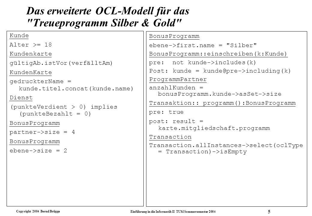 Das erweiterte OCL-Modell für das Treueprogramm Silber & Gold