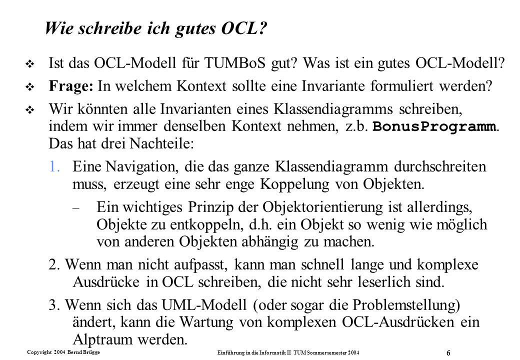 Wie schreibe ich gutes OCL