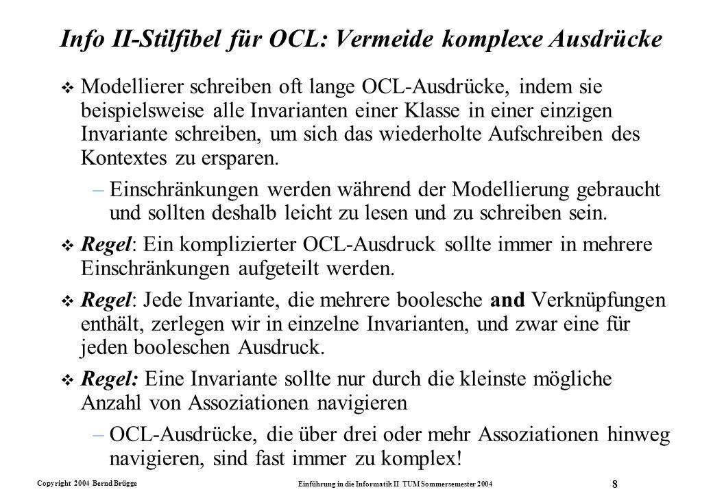 Info II-Stilfibel für OCL: Vermeide komplexe Ausdrücke
