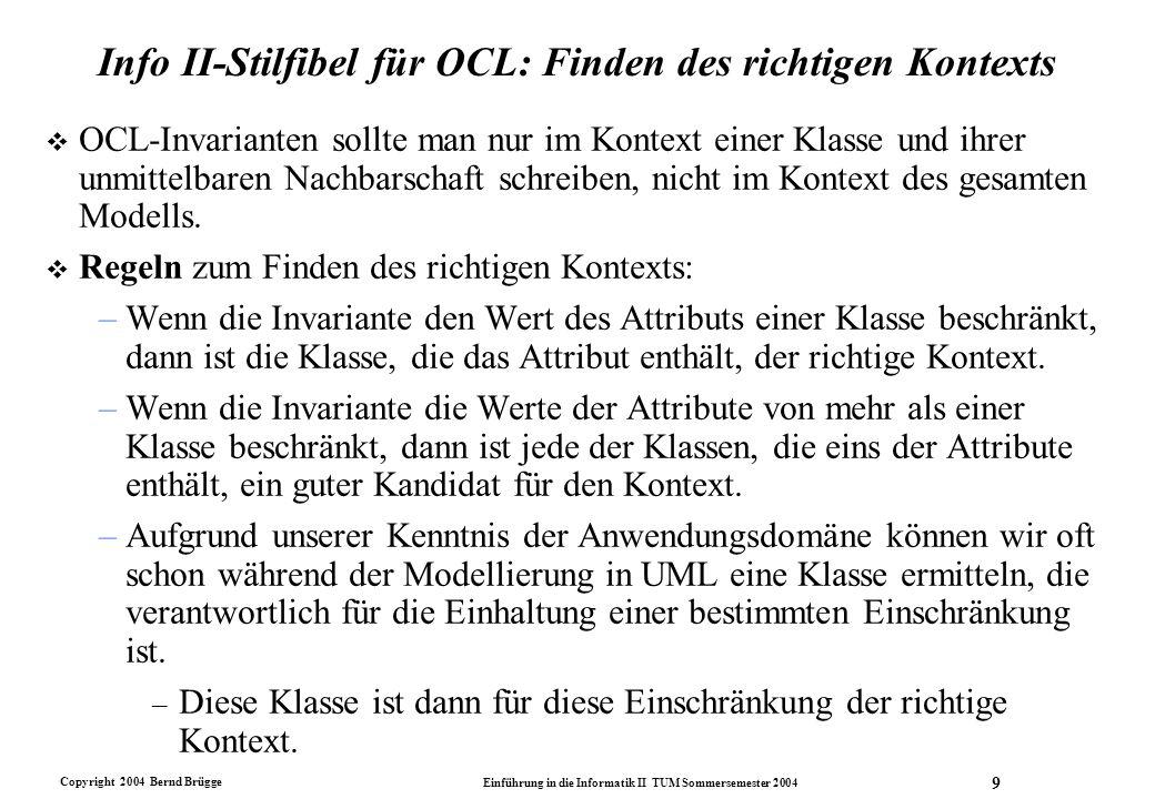 Info II-Stilfibel für OCL: Finden des richtigen Kontexts