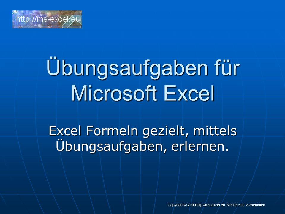 Übungsaufgaben für Microsoft Excel