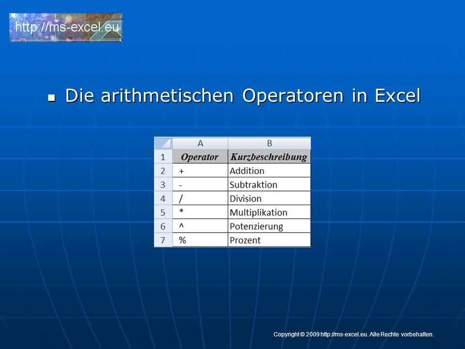 Die arithmetischen Operatoren in Excel