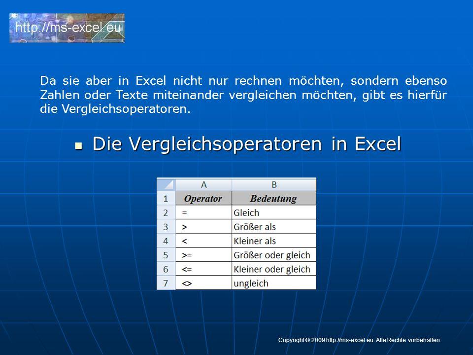 Die Vergleichsoperatoren in Excel