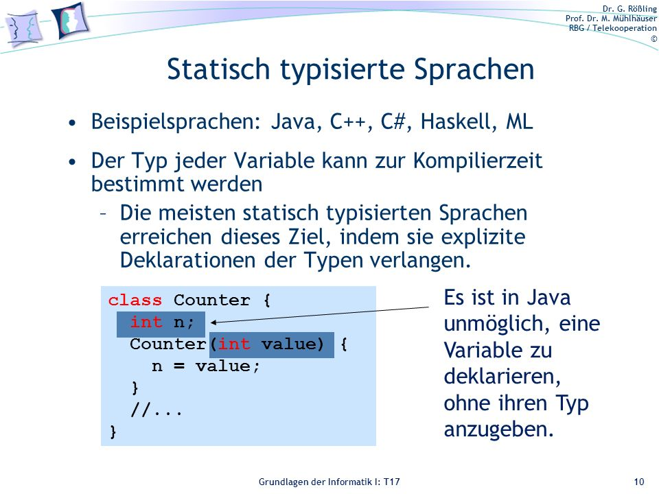 Statisch typisierte Sprachen