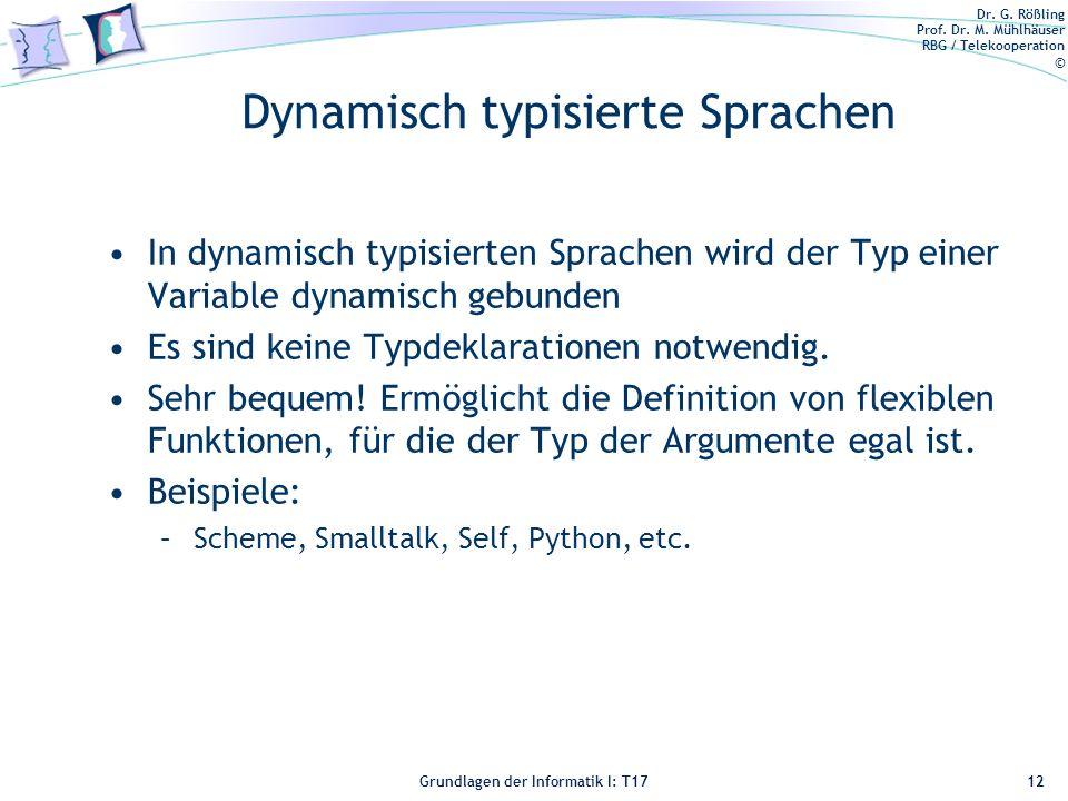 Dynamisch typisierte Sprachen
