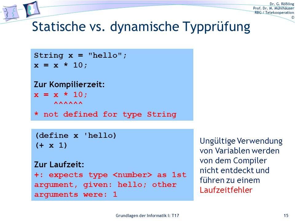 Statische vs. dynamische Typprüfung