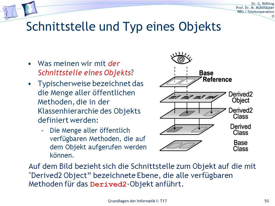 Schnittstelle und Typ eines Objekts