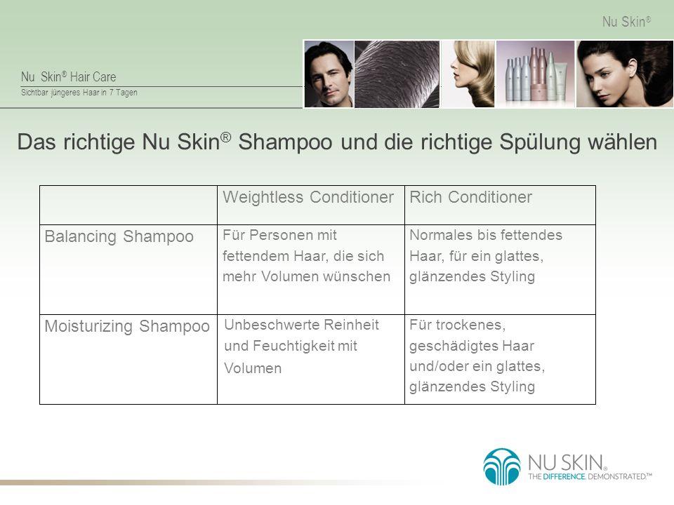 Das richtige Nu Skin® Shampoo und die richtige Spülung wählen