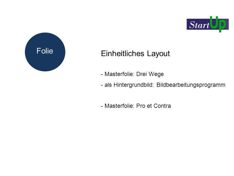 Folie Einheitliches Layout Masterfolie: Drei Wege