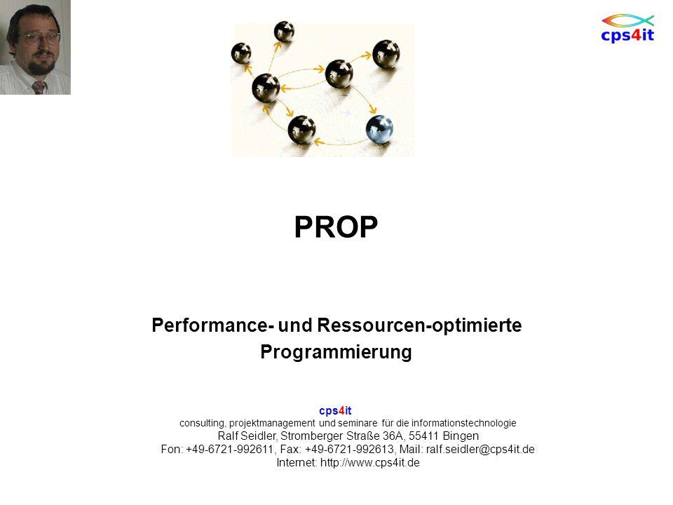 Performance- und Ressourcen-optimierte Programmierung