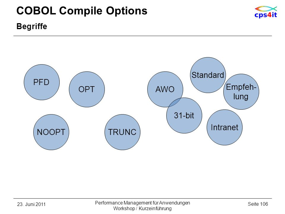COBOL Compile Options Begriffe Standard PFD OPT AWO Empfeh- lung