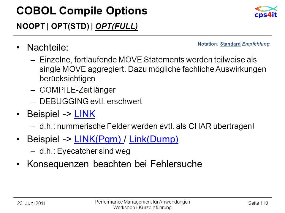 COBOL Compile Options Nachteile: Beispiel -> LINK