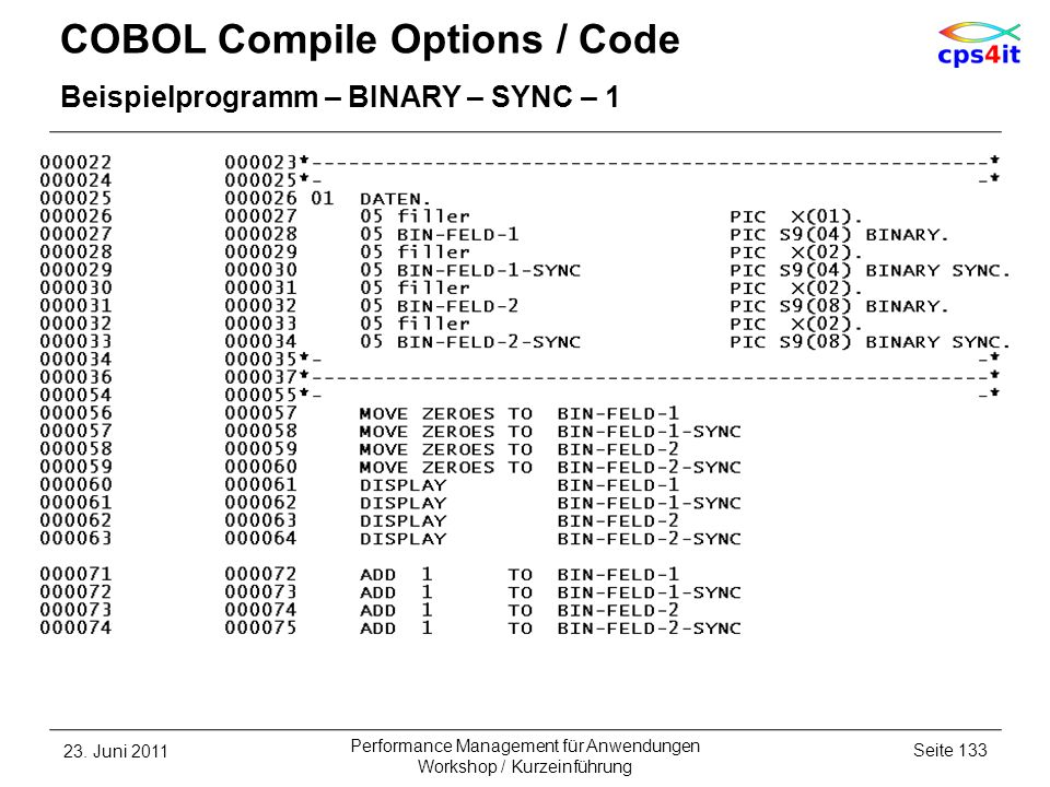 COBOL Compile Options / Code