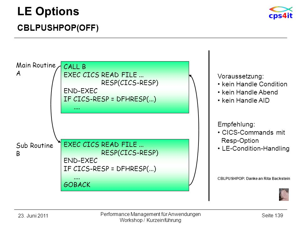 LE Options CBLPUSHPOP(OFF) Main Routine A