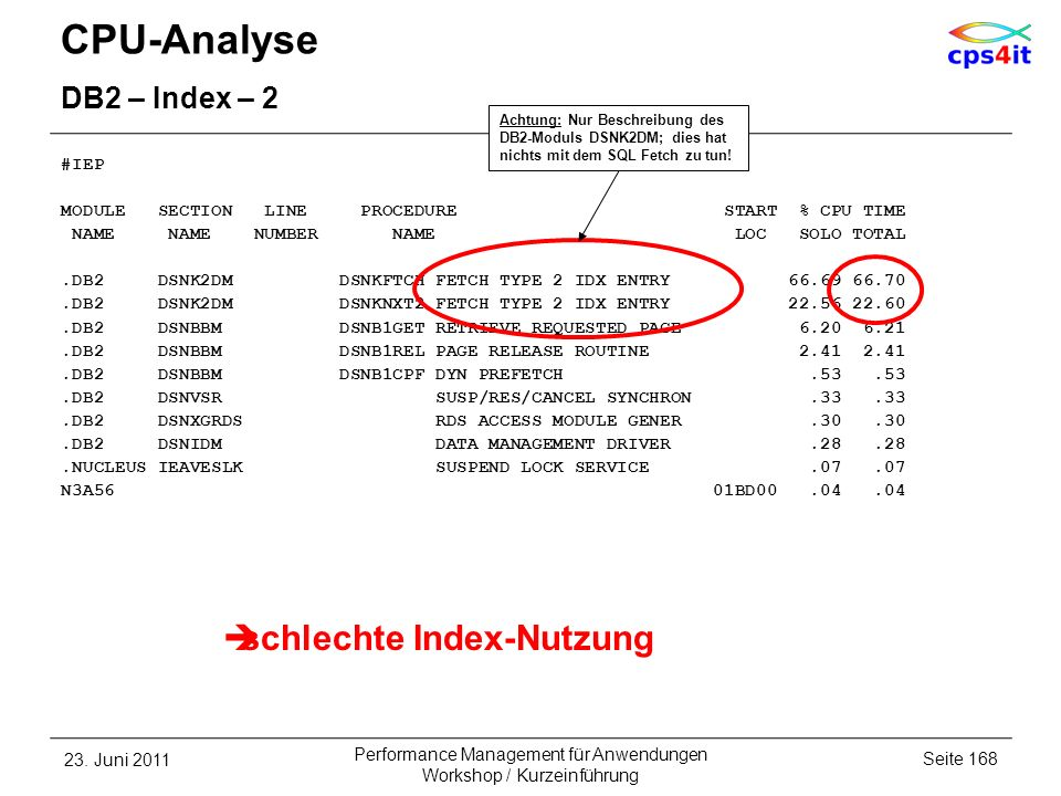 CPU-Analyse schlechte Index-Nutzung DB2 – Index – 2 #IEP