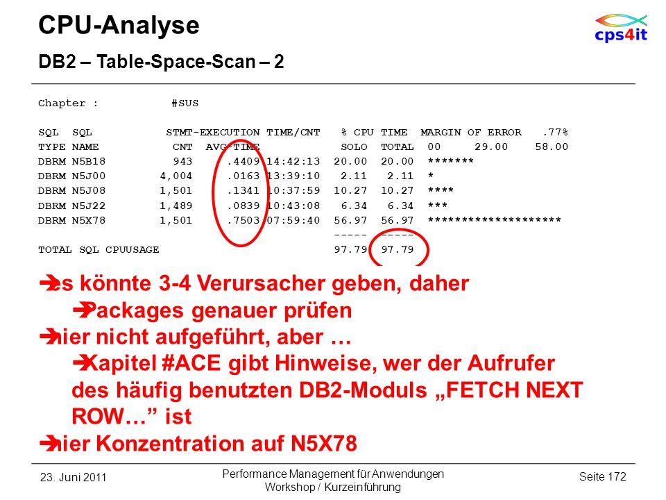 CPU-Analyse es könnte 3-4 Verursacher geben, daher