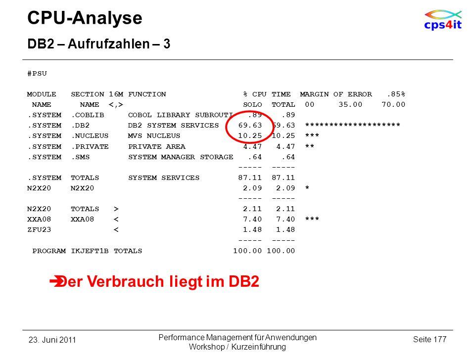 CPU-Analyse Der Verbrauch liegt im DB2 DB2 – Aufrufzahlen – 3 #PSU