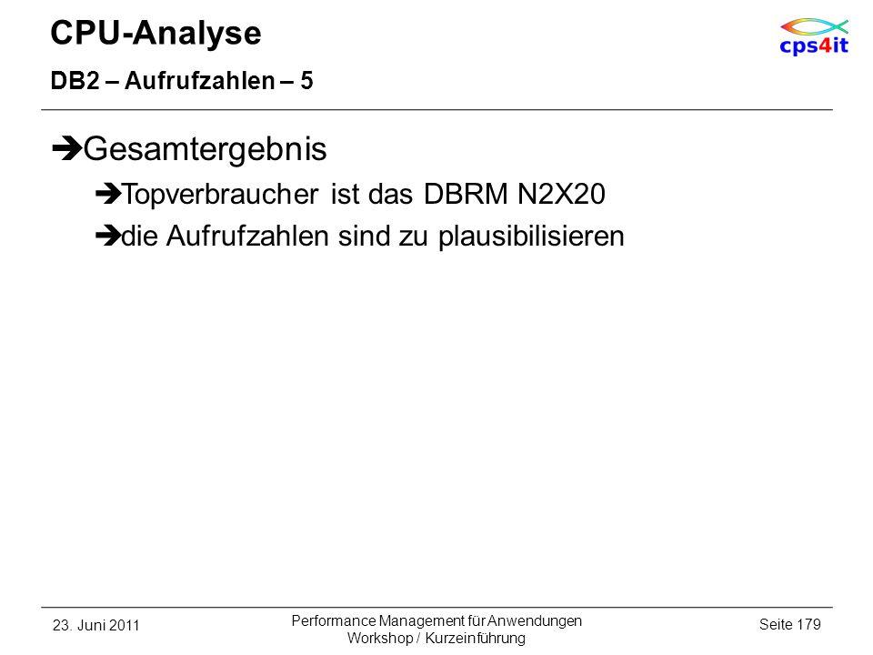 CPU-Analyse Gesamtergebnis Topverbraucher ist das DBRM N2X20