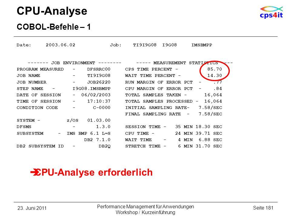 CPU-Analyse CPU-Analyse erforderlich COBOL-Befehle – 1