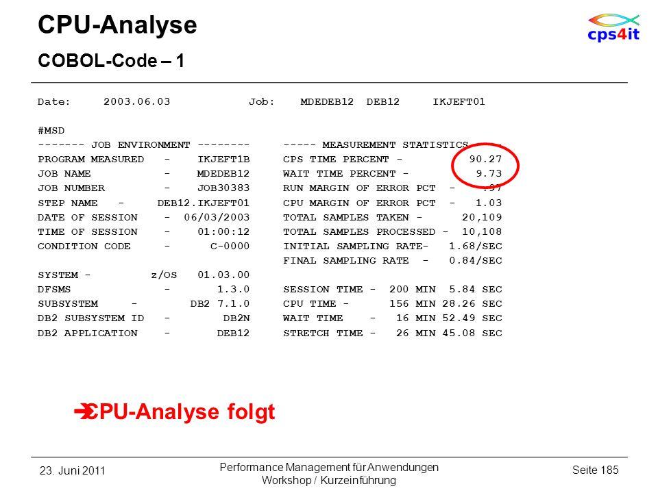 CPU-Analyse CPU-Analyse folgt COBOL-Code – 1