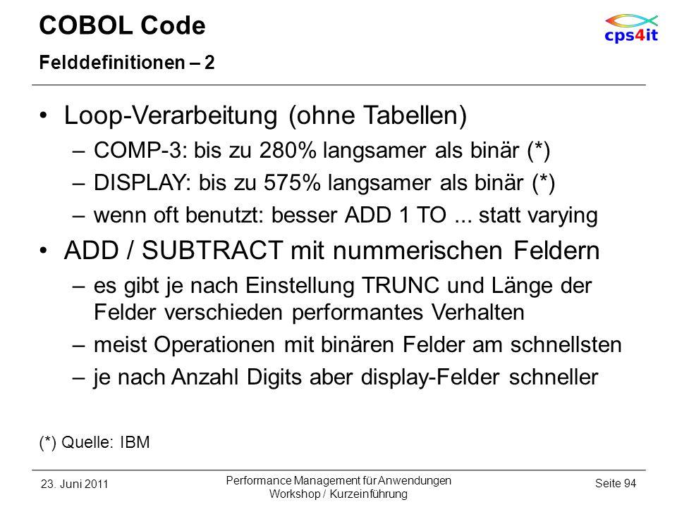Loop-Verarbeitung (ohne Tabellen)