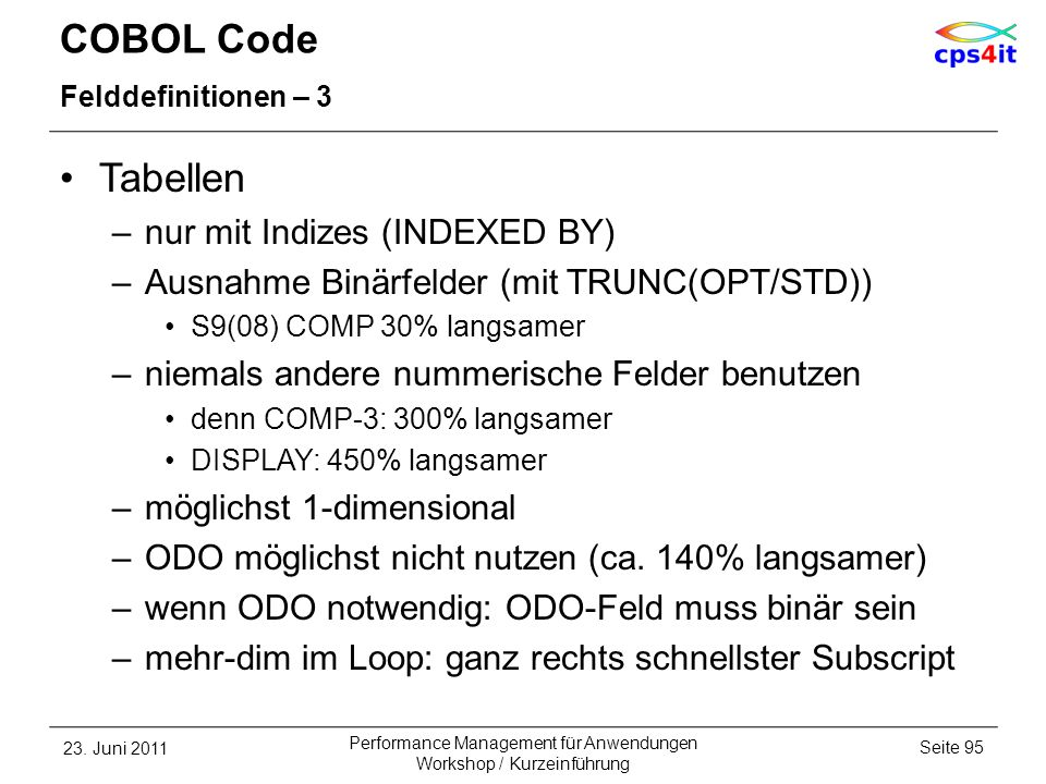 COBOL Code Tabellen nur mit Indizes (INDEXED BY)