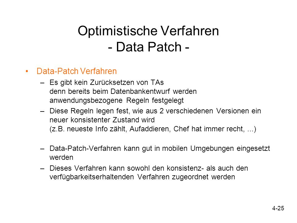 Optimistische Verfahren - Data Patch -