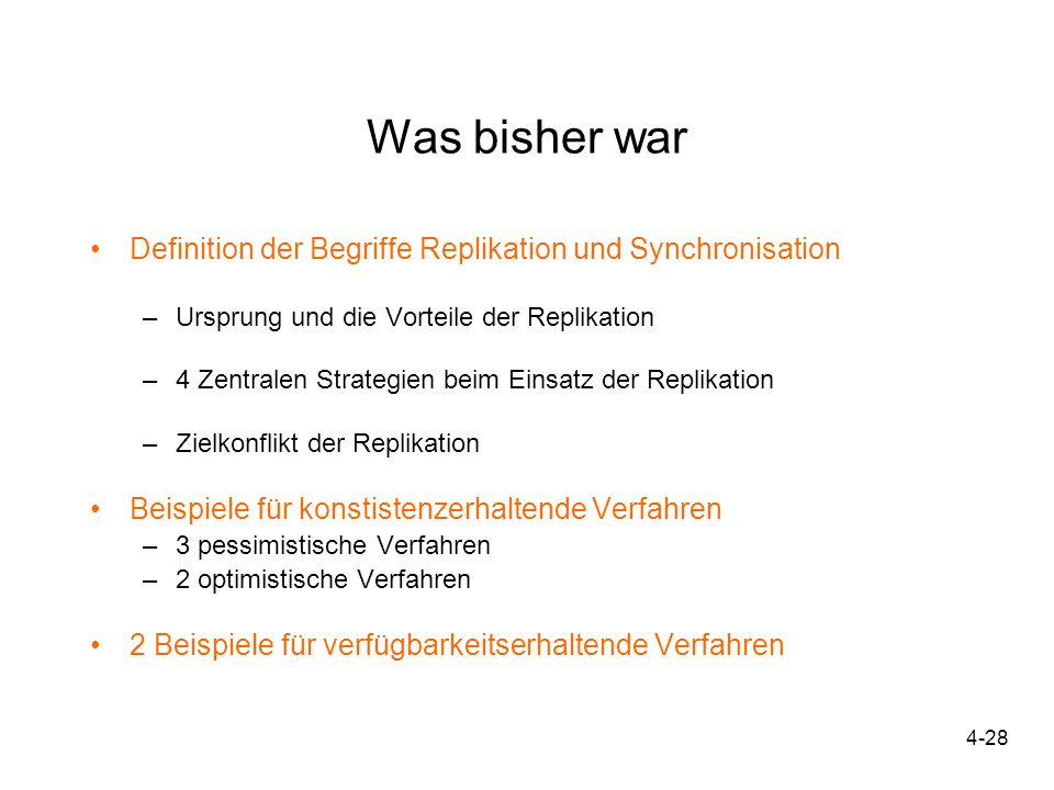 Was bisher war Definition der Begriffe Replikation und Synchronisation