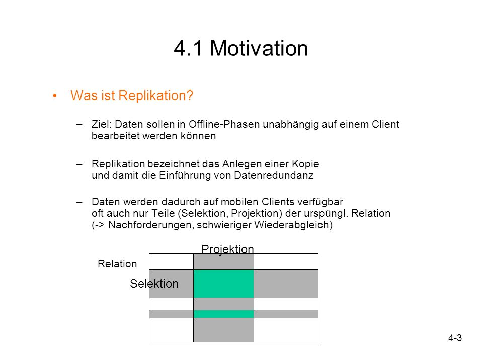 4.1 Motivation Was ist Replikation Projektion Selektion