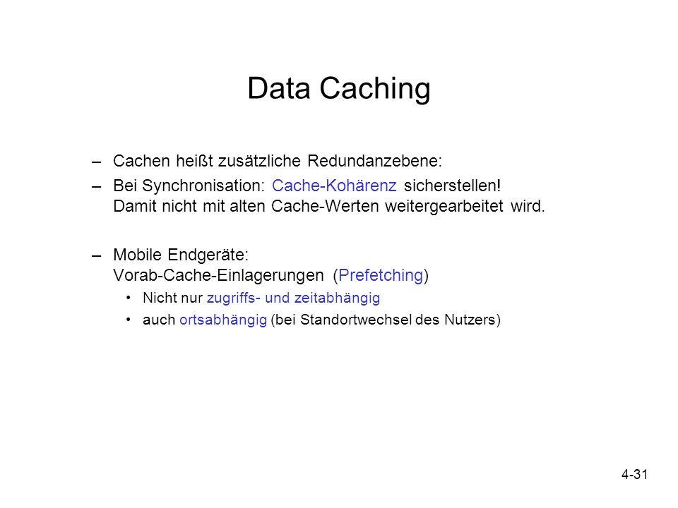 Data Caching Cachen heißt zusätzliche Redundanzebene: