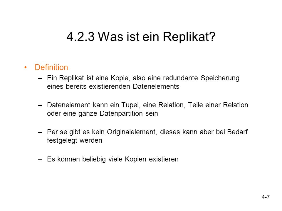 4.2.3 Was ist ein Replikat Definition