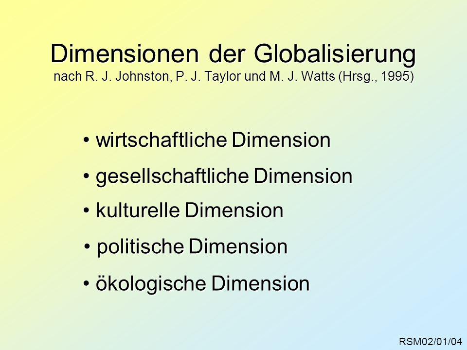 Dimensionen der Globalisierung nach R. J. Johnston, P. J. Taylor und M