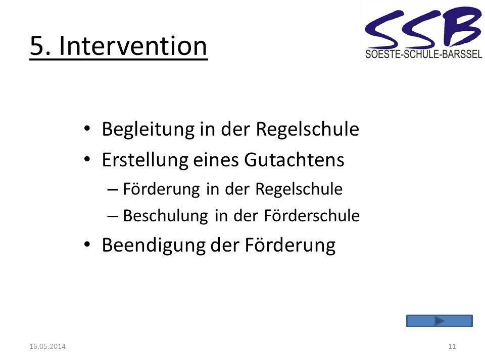 5. Intervention Begleitung in der Regelschule