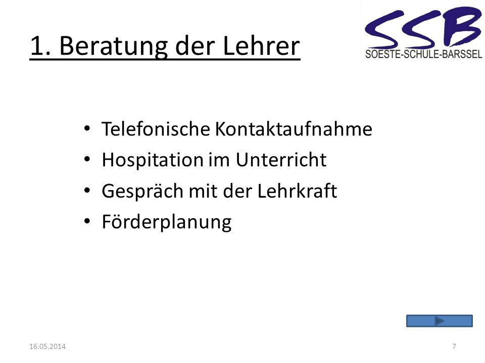 1. Beratung der Lehrer Telefonische Kontaktaufnahme