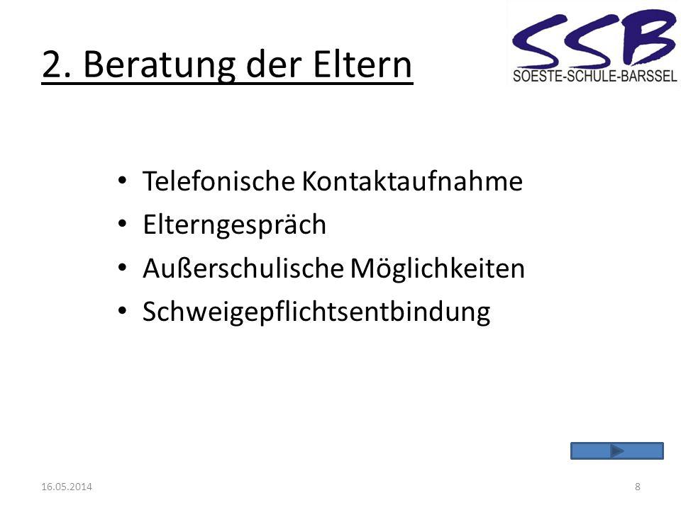 2. Beratung der Eltern Telefonische Kontaktaufnahme Elterngespräch
