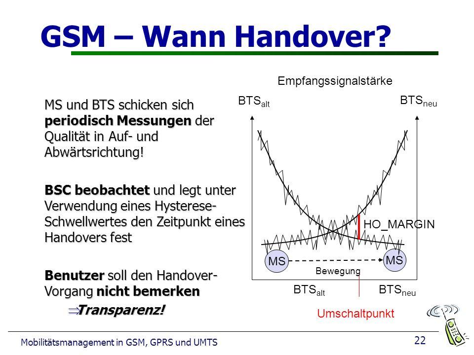 GSM – Wann Handover Empfangssignalstärke. MS und BTS schicken sich periodisch Messungen der Qualität in Auf- und Abwärtsrichtung!