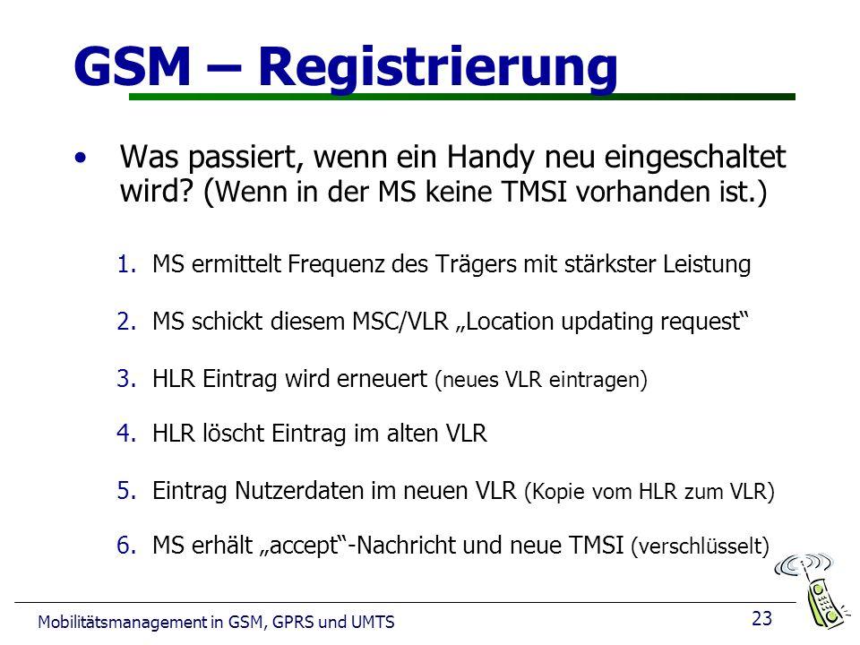GSM – Registrierung Was passiert, wenn ein Handy neu eingeschaltet wird (Wenn in der MS keine TMSI vorhanden ist.)