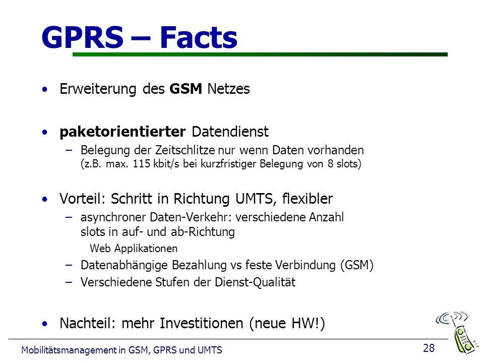 GPRS – Facts Erweiterung des GSM Netzes paketorientierter Datendienst