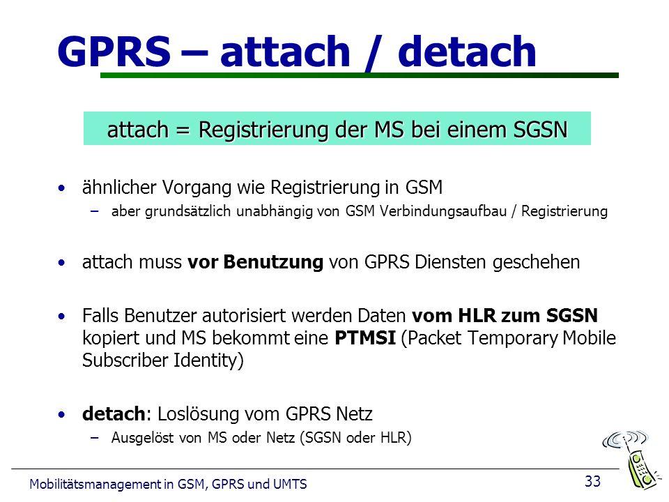 attach = Registrierung der MS bei einem SGSN