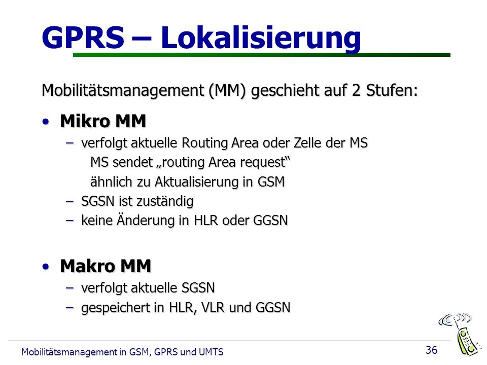 GPRS – Lokalisierung Mikro MM Makro MM