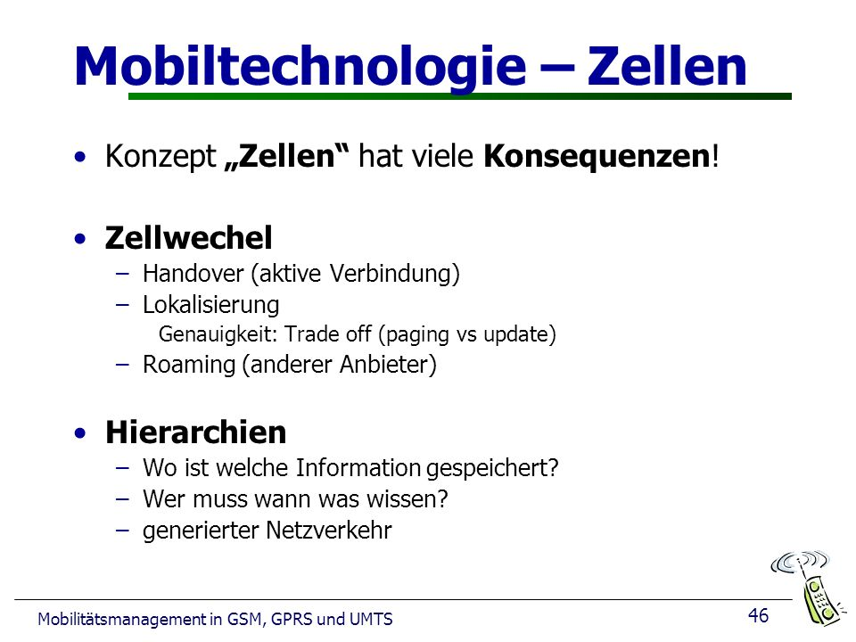 Mobiltechnologie – Zellen