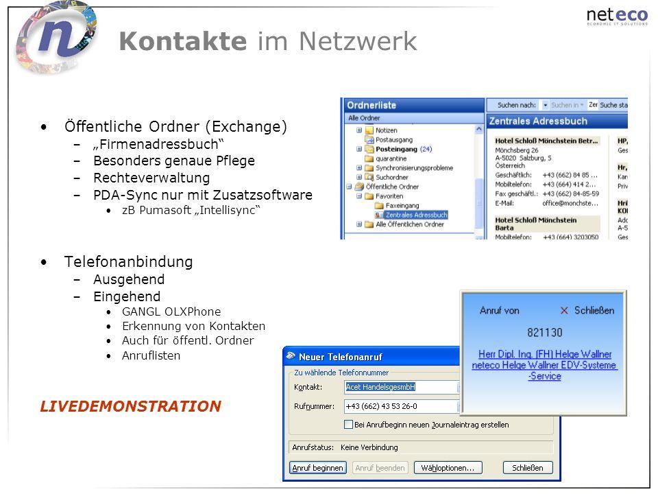 Kontakte im Netzwerk Öffentliche Ordner (Exchange) Telefonanbindung
