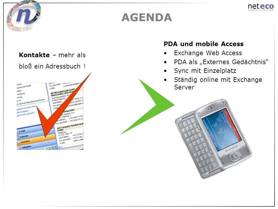 AGENDA PDA und mobile Access Exchange Web Access