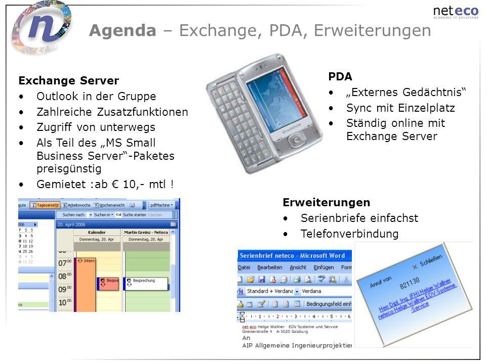 Agenda – Exchange, PDA, Erweiterungen