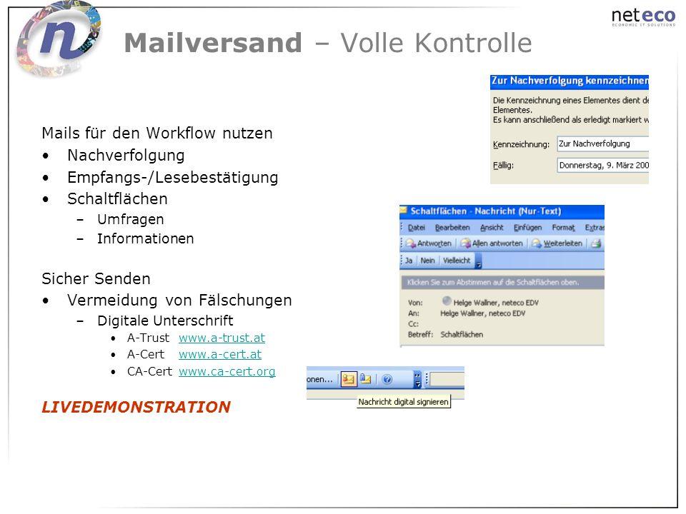 Mailversand – Volle Kontrolle