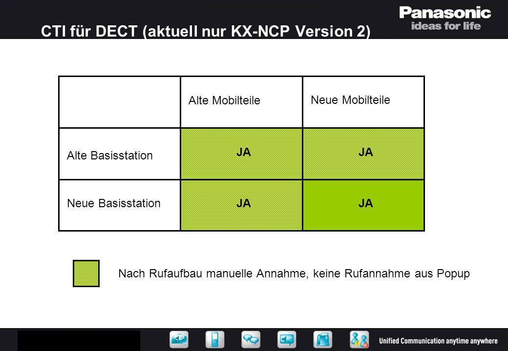 CTI für DECT (aktuell nur KX-NCP Version 2)