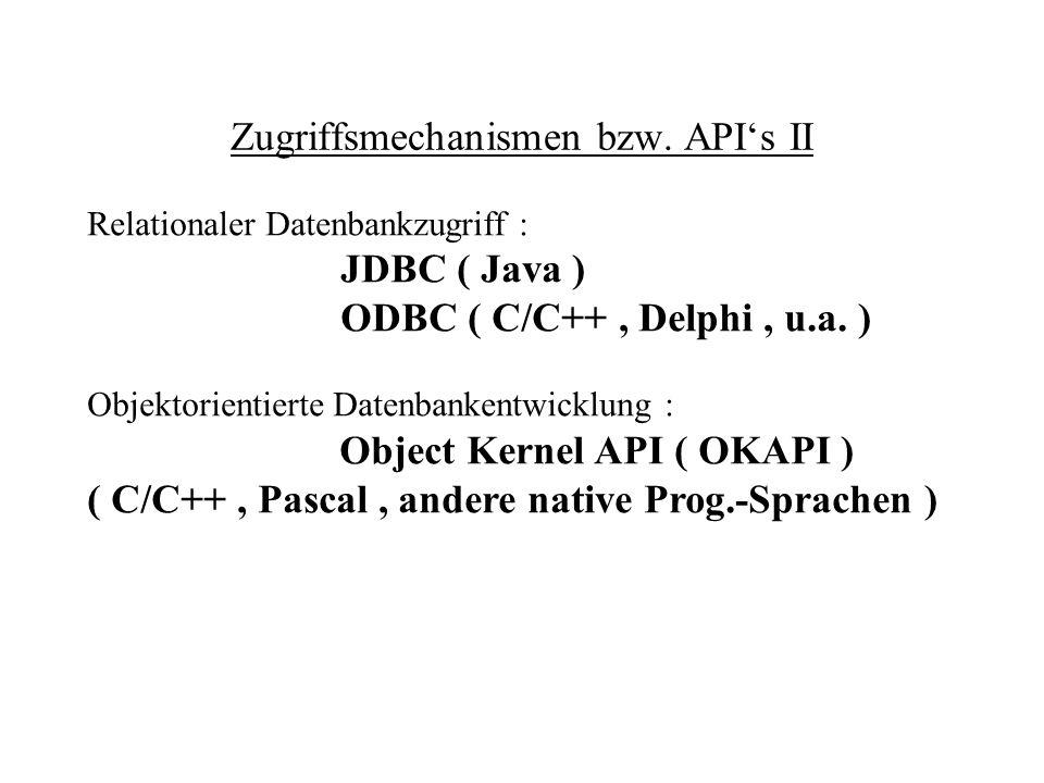 Zugriffsmechanismen bzw. API's II
